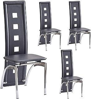 Life HS Conjunto de 4 Sillas de Comedor con Patas metálicas, Negro Respaldo Alto Faux sillas de Cuero de restauración de Cocina Mobiliario de Comedor, 48x43x110cm, Negro,Dining chairx4