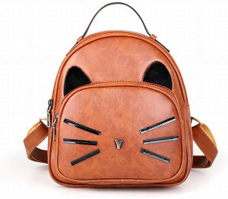 9637e693a4e Female Bag Cute Kitten Mini Backpack Fashion Retro Pu Female ...