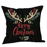 LILICAT Weihnachten Dekokissen Kissenbezug Kissenbezüge Merry Christmas Decoration bettwäsche Sofa Cover bettwäsche Weihnachten deko Kissen 45 x 45cm Leinen