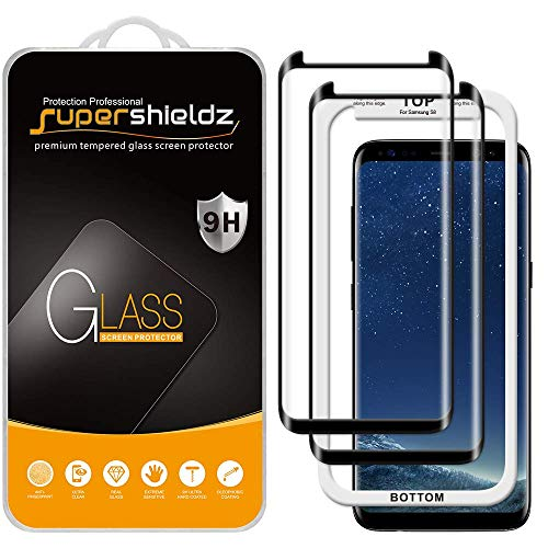 (2 Pack) Supershieldz Designed for Samsung Galaxy S8 Tempered Glass Screen Protector with (Easy Installation Tray) 0.33mm, Anti Scratch, Bubble Free (Black)