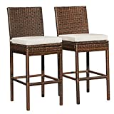 Sundale Outdoor Bar Stools Set of 2, Wicker Rattan Bar Stool Armless, 2 Piece Wicker Chairs, Patio Bar Chair with Cushion Beige, All-Weather Outdoor Rattan Furniture - Aluminum, Brown