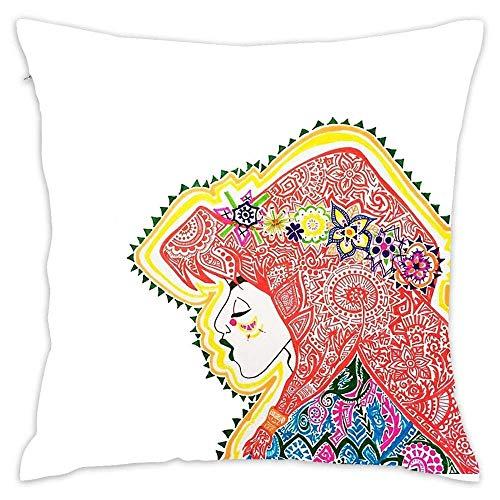 N\A Ika Throw Pillow Cover Cute Funda de Almohada Decorativa Home Sofa Square