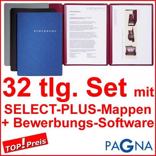 9 dreiteilige Bewerbungsmappen BORDEAUX / ROT + 9 DIN B4 Versandtaschen + 10 Adressetiketten + Etikettenvorlage + Bewerbungssoftware + Extras