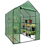 """Mini Walk-in Greenhouse Indoor Outdoor -2 Tier 8 Shelves- Portable Plant Gardening Greenhouse (57L x 57W x 77H Inches… 8 【Strong Construction】This mini walk-in greenhouse is built with high quality metal frame with powder coating, durable bearing net on each layer is strong enough to hold more seed trays, pots and plants growth. The clear waterproof PE cover protects plants from frost or pests while allowing nourishing sunlight to pass through. 【Indoor Outdoor Greenhouse】Waterproof and UV protection, ideal growing environment , can be used indoor and outdoor at all seasons. Perfect for protecting young plants or extending the plant growing season. 【Portable & Easy Setup】Overall Dimensions: 57""""L x 57""""W x 77""""H, Perfect Size for Easy Moving to Indoor or Outdoors. Easy to assemble, no tools required. Enjoying a lot of fun of the flowers and plants in your leisure time!"""