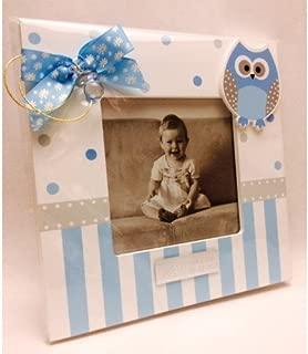 Portafotos PERSONALIZADOS para bautizo de niño marcos azules GRABADOS (pack 10 unidades)