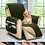 ASHLEYRIVER Reversible Recliner Chair Cover, Seat Width Up to 25 Inch Patent Pending,Recliner Covers for Dogs,Recliner Slipcover,(Recliner Medium:Green/Beige)
