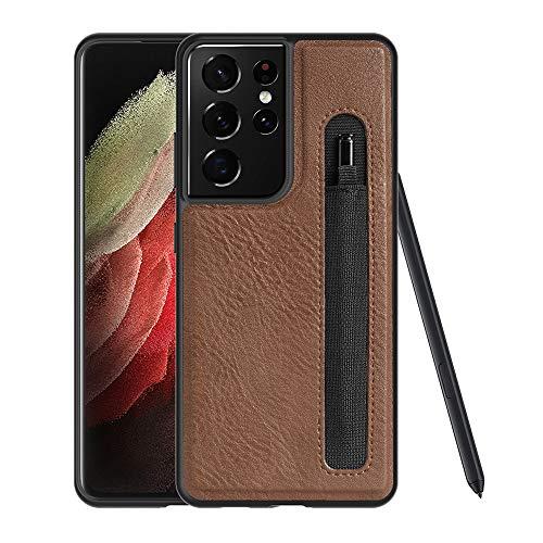 DNGN - Custodia per Samsung Galaxy S21 Ultra compatibile con S-Pen integrata, in pelle PU, con portapenne (marrone)