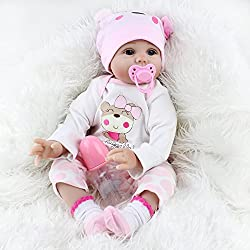 22inches/55cm (from head to toe) realistic reborn girl doll with a soft and cuddly cloth body for a lifelike reborn feel. She has hand applied blue eyes & eyelashes as well as hand rooted realistic mohair. Her arms and legs can be moved up and down, ...