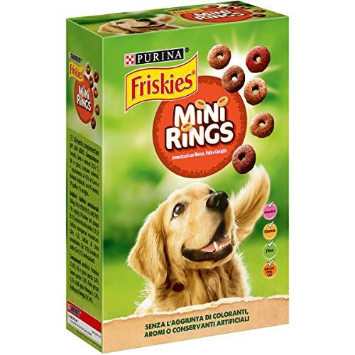 Purina Friskies Mini Rings Cane Biscotti con l'Aggiunta di Manzo, Pollo e Coniglio, 6 Scatole da 500 g Ciascuna