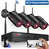 【8CH Expandable】Security Camera System Wireless,ANRAN Outdoor 8 Channel 1080P Home Video Wifi NVR Kit with 1TB HDD,4pcs 1080P Indoor Outdoor Surveillance IP Cameras,Easy Remote View,Plug Play,Free APP