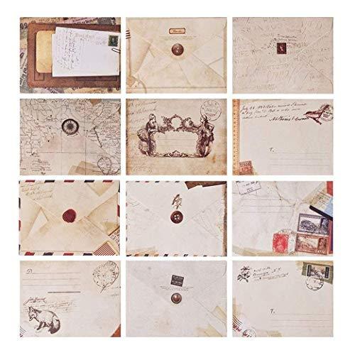 Yeelan 60 st retro kuvert vintage ficka gåva papper brev kort till jul/Thanksgiving/bröllop/födelsedagsfest/anteckning/hälsning etc (ministorlek: 7,2 x 9,5 cm/2,8 x 3,8 cm europeisk stil)