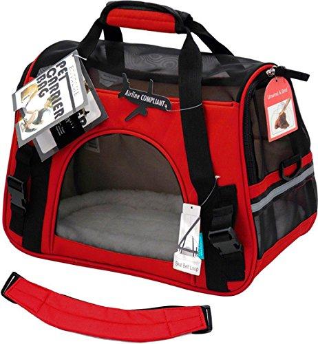 600D Transporttasche Reisetasche Tasche Hund Katze Hase Kaninchen andere Kleintiere mit Flugzulassung (Rot)