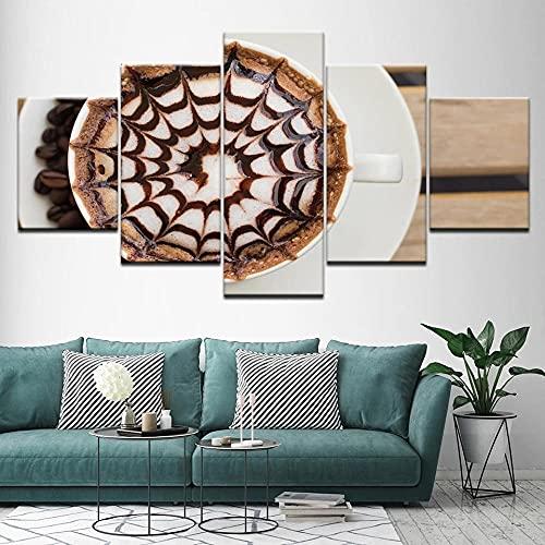 Composición De 5 Cuadros De Madera para Pared Chocolate Café Impresión Artística Imagen Gráfica Decoracion De Pared Abstracto 150 * 80Cm con Marco