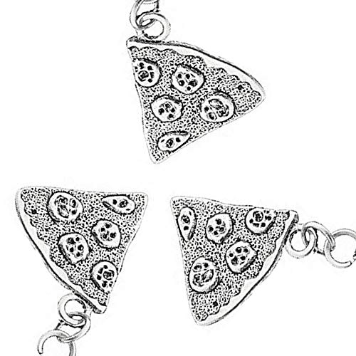 Art Attack Silvertone Pizza Pie Pepperoni Lover Best Friends Forever BFF Matching Pendant Necklace Gift Set (3 Pizzas)