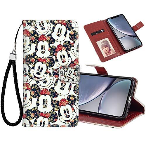 DISNEY COLLECTION Funda para iPhone Xr de piel sintética con diseño de Mickey Mouse magnético para tarjetas de crédito con correa de mano, soporte para mujeres y niñas