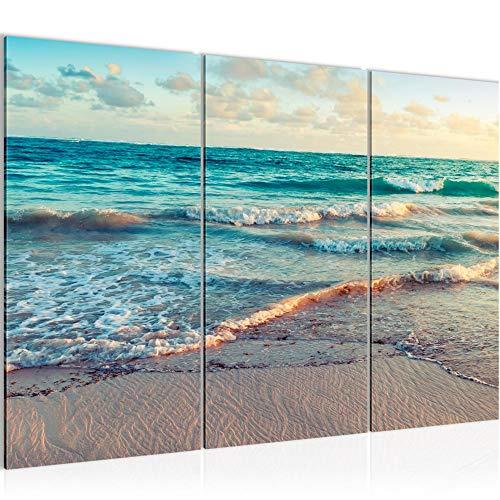 Runa Art Mar Playa Cuadro Murales Sala XXL Azul Beige Panorama 120 x 80 cm 3 Piezas Decoración de Pared 015531a