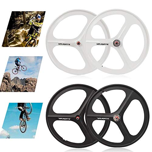 Great Price! RibasuBB Fixed Gear 700C 3-Spoke Rim Single Speed Fixie Bicycle Wheel Clincher Type Set...