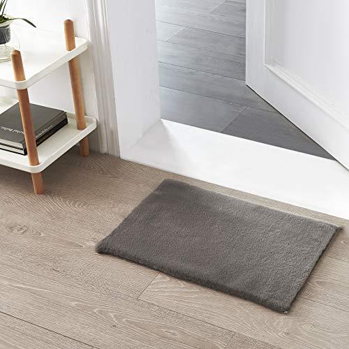 Kurzfell-Teppich Kunstfell Hasenfell Imitat | Wohnzimmer Schlafzimmer Kinderzimmer | Als Faux Bett-Vorleger oder Matte für Stuhl Hocker Sofa (Dunkelgrau, 40 x 60 cm)