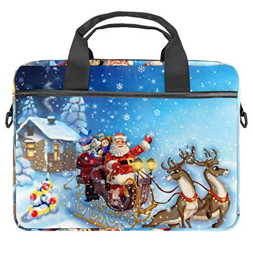 LORVIES Kerstman Slee met Rendier Laptop Tas Schouder Messenger Tas Zakelijke Mouw Draaghandvat Tas voor 14 naar 15.4 inch Laptop Notebook