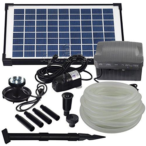 Agora-Tec® at-Solar Bachlaufpumpen - Set 10W-BLH mit Akku und 6-...