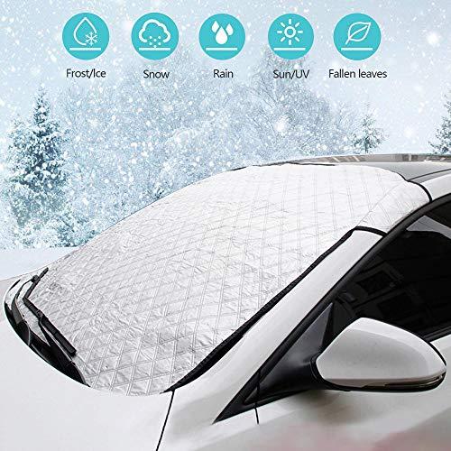 Feicuan Frontscheibenabdeckung Auto - Universal Schnee EIS Frost Sonne UV Staub Auto Windschutzscheibe Schutzhülle, Faltbar, Wasserdicht Bei Jedem Wetter, 130x160CM für SUVs