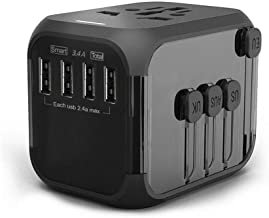 International Travel Adapter with Auto Resetting Fuse, Worldwide All in One Universal Power Adapter USB and Type C Converter with AC Outlet Wall Charger for US EU UK AU Asia (4USB, Black)