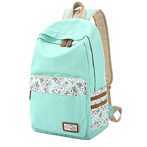 Gestreifter Rucksack/Schultasche mit Laptopfach von Artone - lässiger Schulrucksack Aqua Blumenmuster