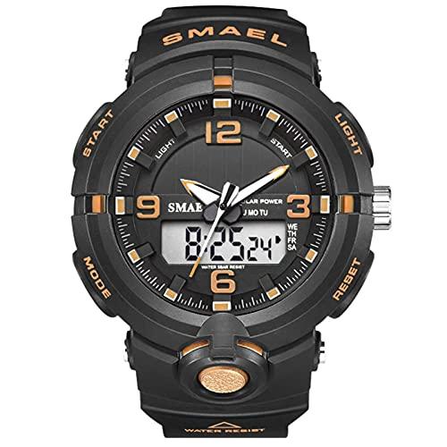 JTTM Reloj Deportivo De Energía Solar De Multifunción Dual Tiempo Pulsera Digital De Silicona Batería Integrada Impermeable De 50M para Actividad Deportes Exteriores para Hombre,Black Golden