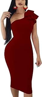 Women's Sexy Ruffle One Shoulder Sleeveless Bodycon Party Club Midi Dress