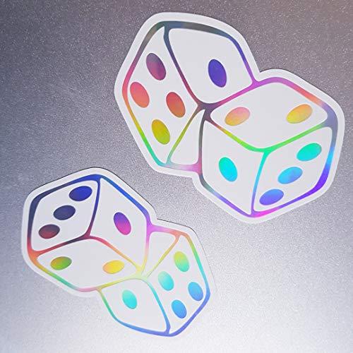 folien-zentrum 2X Würfel Weiß Hologramm Oilslick Rainbow Flip Flop Aufkleber Metallic Effekt Shocker Auto JDM Tuning OEM Dub Decal Sticker Illest Dapper Oldschool