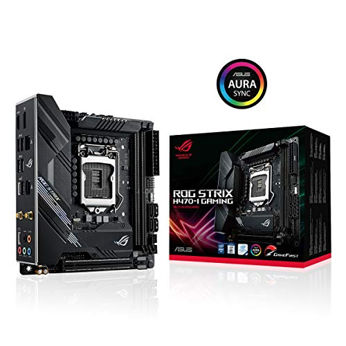 ASUS ROG Strix H470-I Gaming Intel H470 LGA 1200 Mini-ITX, AI Networking, WiFi 6 (802.11ax), 2X 1GB Ethernet, Dual M.2 und SATA, USB Type-C