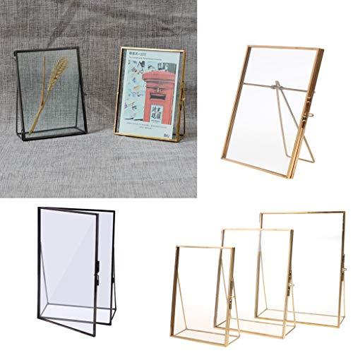 WWWL Marco de fotos simple de oro antiguo rectángulo de vidrio marco de fotos plegable de escritorio de fotos marcos de latón para retratos y paisajes decoración del hogar 5 x 7 pulgadas