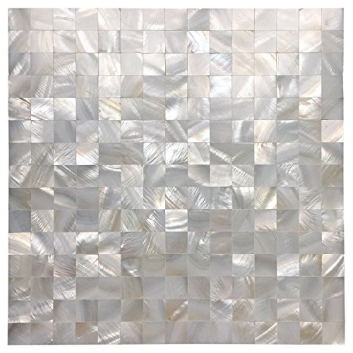 Art3d White Seamless Mother of Pearl Tile Shell Mosaic for Bathroom/Kitchen Backsplashes (10 Sheets)
