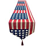 AMENON Patriotic Table Runner 4th of July Decoration 13x70 Inch Embroidered Americans Flag Stars Runner,Election Event Burlap Table Cover Memorial Day Independence Day Decorations