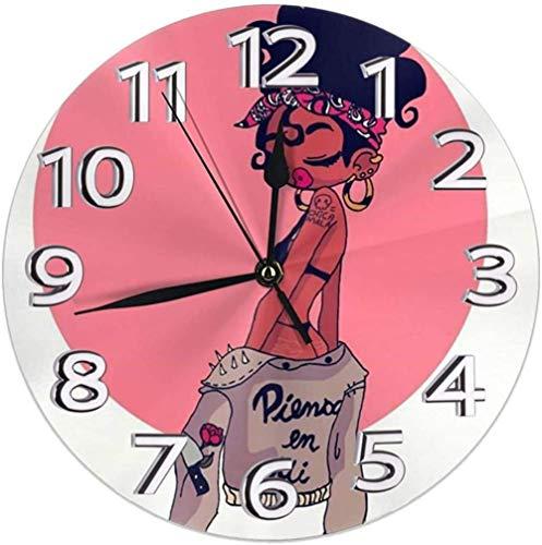 XXSCXXSC Reloj de Pared Sexy Lady Afro Rosa Negro Mujeres Niñas Reloj de Pared Redondo para el hogar Relojes Decorativos silenciosos sin tictac con Pilas