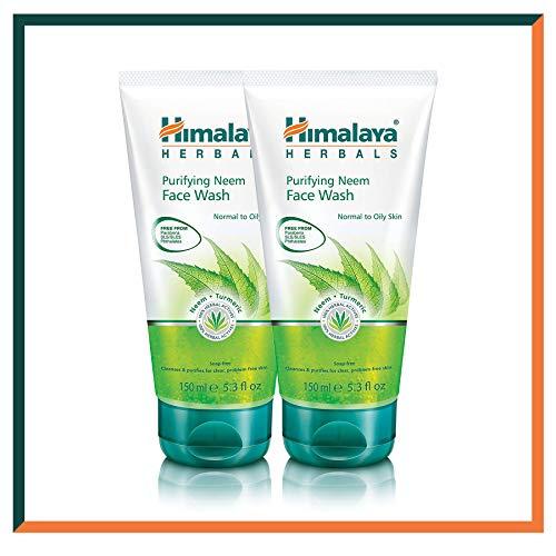 HIMALAYA HERBALS Gel nettoyant purifiant pour le visage Neem | Nettoyant facial hydratant naturel | Nettoie en profondeur les pores et l'acné | 2 Pack 150g (2-Pack Neem Face Wash Gel)