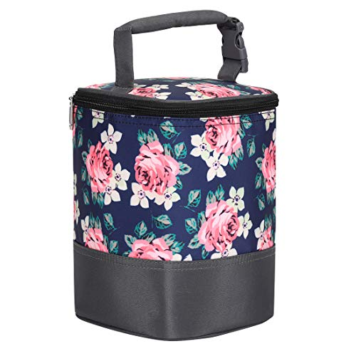 Insulated Baby Bottle Bag for Daycare - MBJERRY Size Upgrade Breastmilk Cooler Bag Baby Bottle Tote Bags, Easily Attaches to Stroller (Flower)