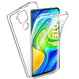 AROYI Funda Compatible con Xiaomi Redmi Note 9, Ultra Slim Doble Cara Carcasa Protector Transparente TPU Silicona y PC Dura Resistente Anti-Arañazos Protectora Case Cover