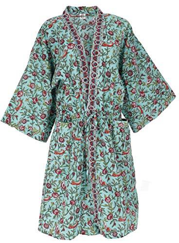 Guru-Shop - Kimono en estilo japonés, abrigo de kimono extragrande, vestido kimono, mujer, turquesa, algodón, tamaño: 40, largo y medio, ropa alternativa turquesa 42
