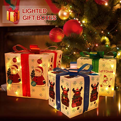 Fristmas Lighted Gift Boxes for Christmas Decorations, Set of 3 Light Up Present Boxes with 80 LED Lights for Holiday Party X-mas Yard Home Decor Indoor Outdoor Decorations