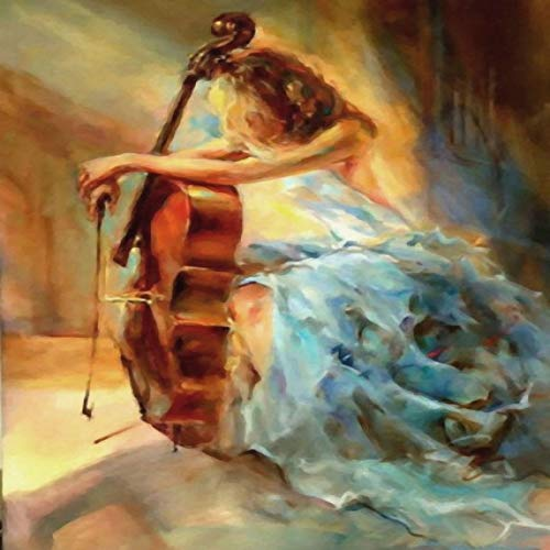 Cello und Mädchen Malerei Öl Kunst Malerei Drucke und Poster Leinwand Bilder für Wohnzimmer Dekoration Kunst Bild 13x18cm