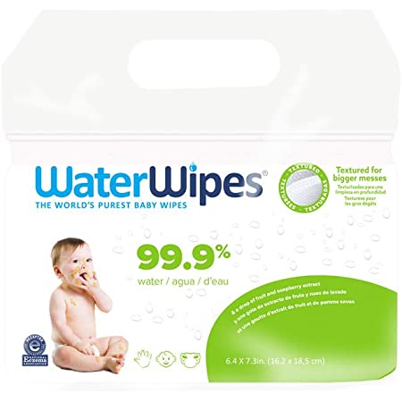 Baby Wipes, WaterWipes Textured Sensitive Baby Diaper Wipes, 99.9% Water, Unscented & Hypoallergenic, for Baby & Toddlers, 4 Packs (240ct)