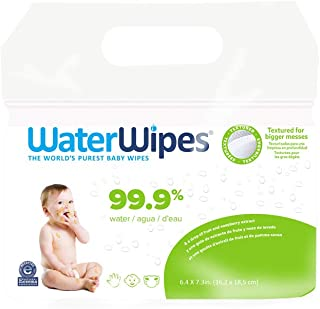 Sponsored Ad - WaterWipes Textured, Sensitive, Unscented Baby and Toddler Soapberry Wipes, 4 Packs (240 Wipes)