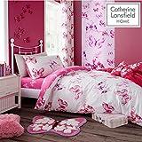 Catherine Lansfield, biancheria da letto con farfalla, rosa, Rosa, 135 x 200 cm