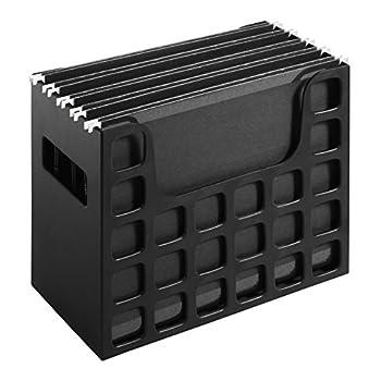 Pendaflex Portable Desktop File Side Handles Hanging File Folders Tabs & Inserts Letter Size 9-1/2 x 12-3/16 x 6 Inches Black  23013