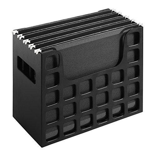 Pendaflex Portable Desktop File, Side Handles, Hanging File Folders, Tabs & Inserts, Letter Size, 9-1/2 x 12-3/16 x 6 Inches, Black (23013)