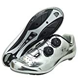 RTY Cycling Shoes Spin Shoestring with Compatible Cleat Peloton Shoe with SPD and Delta Lock Pedal Bike Shoes,Silver,40