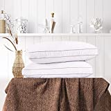 Ubauba Goose Feather Down Pillows for Sleeping Set of 2 - White Bed Pillows Hotel Collection - 100% Breathable Cotton Shell - Bedding Gusseted Pillows for Side Back Sleepers 2 Pack (Standard, 17x24)