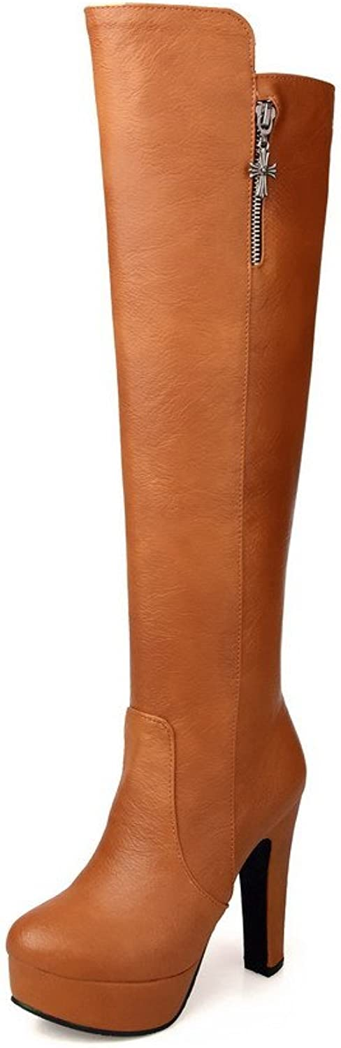 AmoonyFashion Women's Closed-Toe Round-Toe High-Heels Boots with Side Zipper and Thick Heels