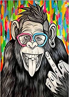 IVSUN 5D Diamond Painting by Number Kits, Full Drill Crystal Rhinestone Embroidery Diamond Art for Kids Adults Arts Canvas Painting with Tools for Home Wall Decor (Monkey)